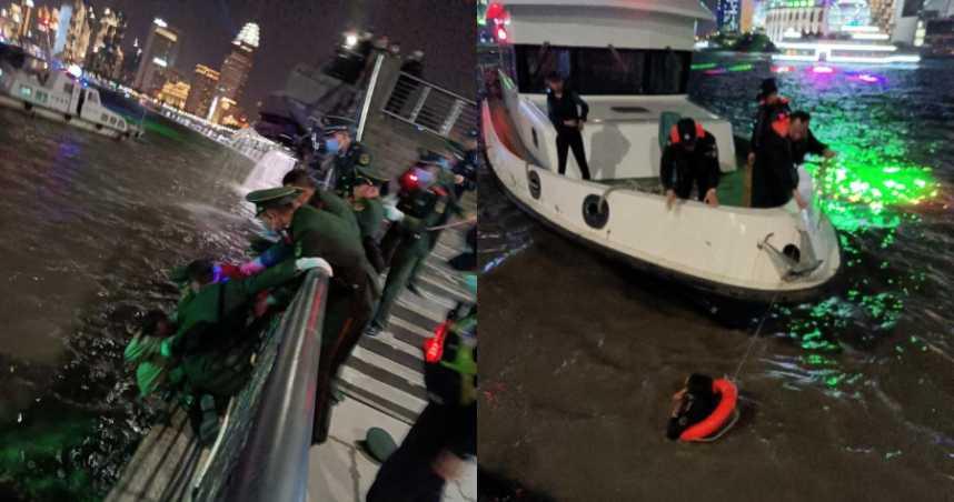女子墜入黃浦江中 英勇武警秒翻過欄杆跳水救人