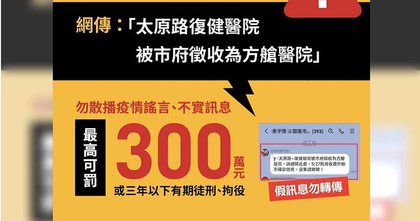 台中太原路復健醫院被徵收成方艙醫院 指揮中心:假訊息