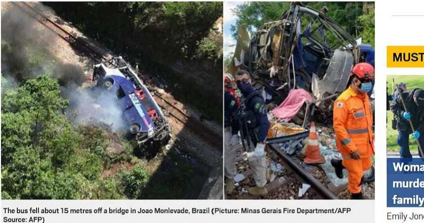 巴西遊覽車摔落15公尺高架橋 釀15死30傷