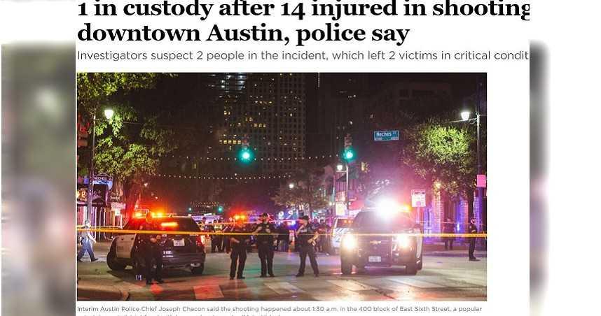 美德州奧斯汀鬧區爆槍擊案釀14傷 1嫌落網犯案動機尚不明