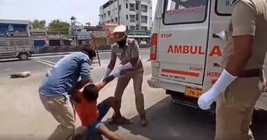 不戴口罩上街!男慘遭警拖上救護車「和確診者關一起」崩潰逃窗